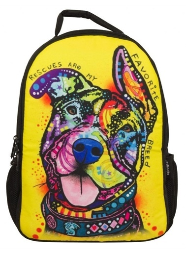 Ümit Çanta Cennec 102 - Köpek Baskılı Sarı Renkli Sırt Çantası Renkli